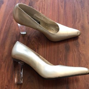 J Renee lucite heel gold leather pumps size 7,5